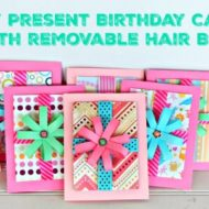 DIY Present Birthday Card with removable Hair Bow