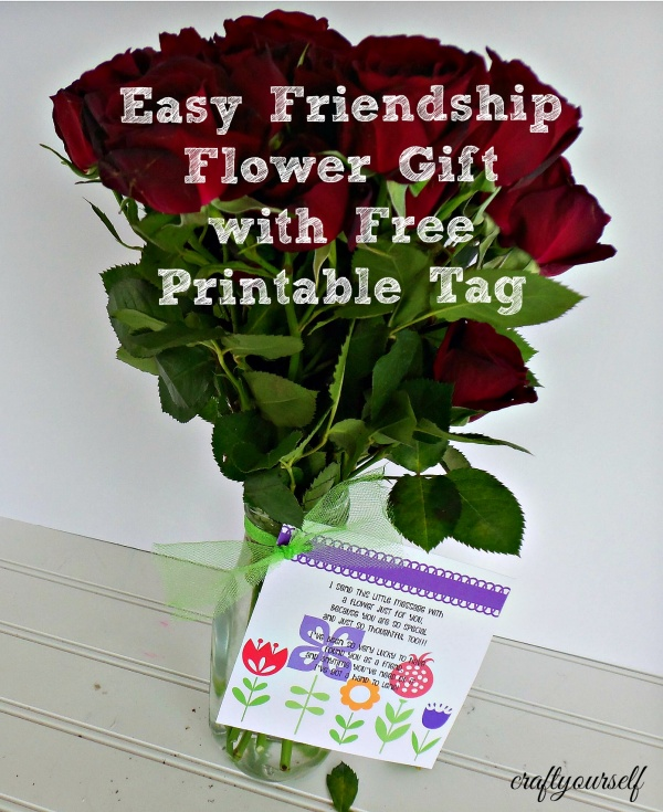 Easy friendship flower gift with free printable tag negle Images