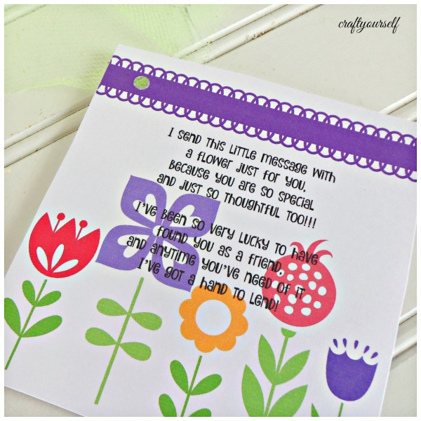 friendship flower printed tag
