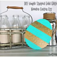 DIY simple Striped Gold Glitter Wooden Easter Egg wording
