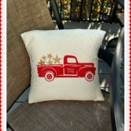 Vintage Fourth of July Glitter Star Truck Pillow