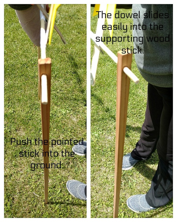 Stick and dowel together.