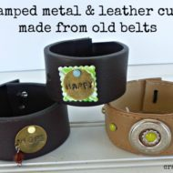 Stamped metal and leather cuffs made from old belts