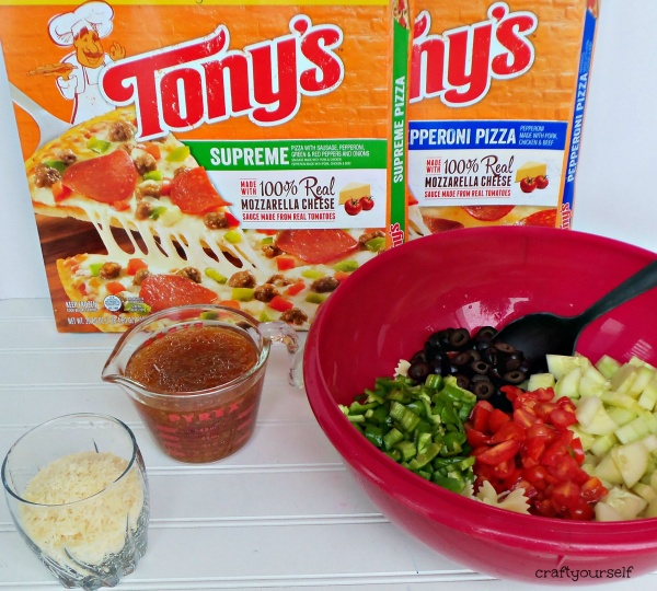 Tony's pizza and salad dressing