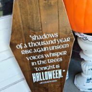 Wooden Coffin Decorative Halloween Sign