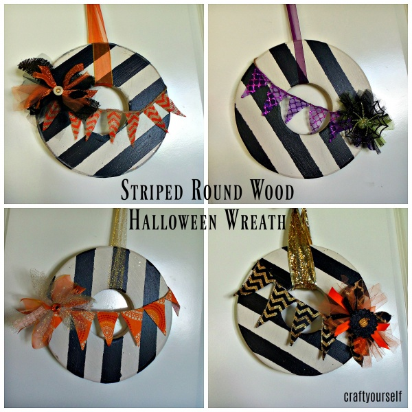 striped round wood halloween wreath