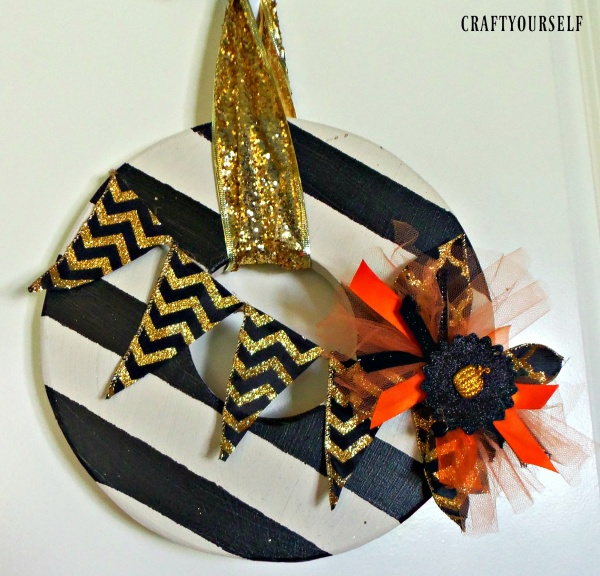 striped wooden wreath