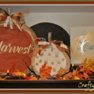 DIY Fall Pumpkin Harvest and polka dot painted birch logs
