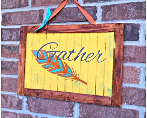 Fall/Thanksgiving Feather Slat Board Sign