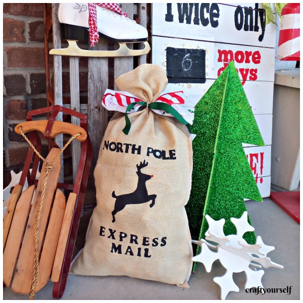 stenciled burlap christmas sack