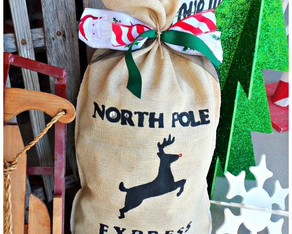 Stenciled Burlap Christmas Delivery sack