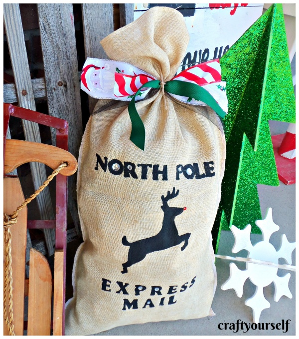 stenciled burlap delivery sack