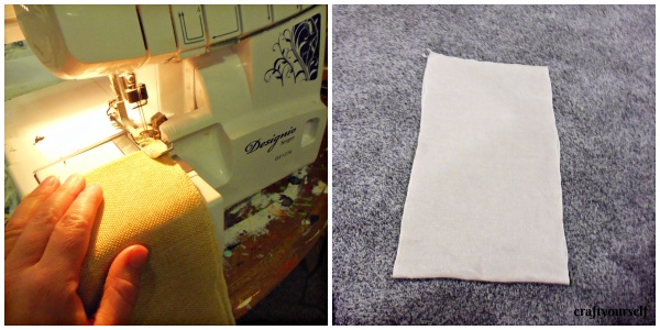 stenciled burlap sack sewing
