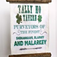 Tally Ho Tavern St. Patrick's Wood and fabric Hanging sign