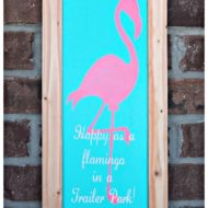 Trendy Summer Flamingo Framed Wood Decor Sign