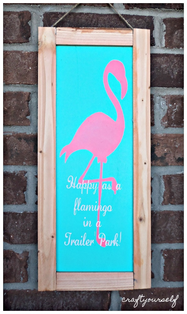 Happy as a flamingo in a trailer park sign
