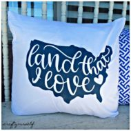 4th of July Land That I Love Freezer Paper Painted Pillow