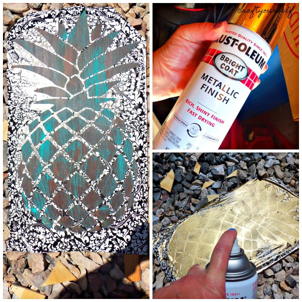 antiqued pineapple spray paint