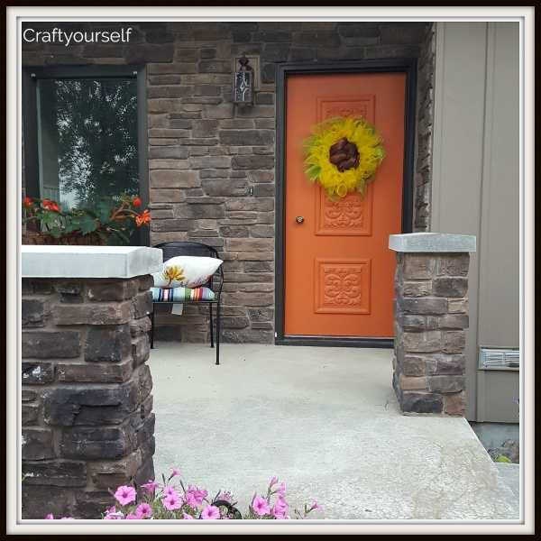 Sunflower Deco mesh wreath on orange door