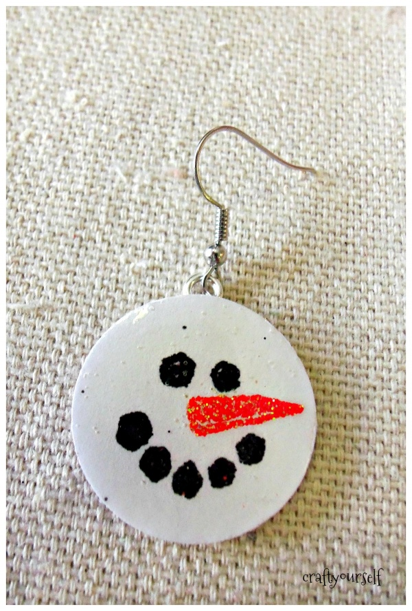 diy chipboard snowmen earring