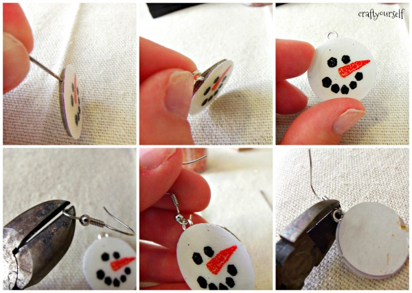 diy chipboard snowmen earrings attaching hooks