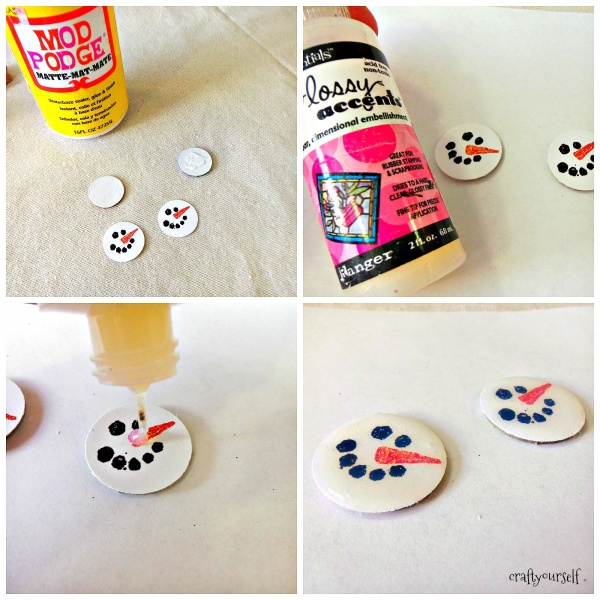 diy chipboard snowmen earrings gloss accents