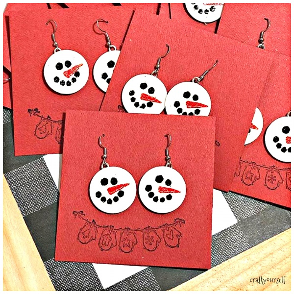 diy chipboard snowmen earrings on cards