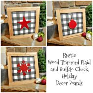 Rustic Wood Trimmed Plaid and Buffalo Check Holiday Decor Boards