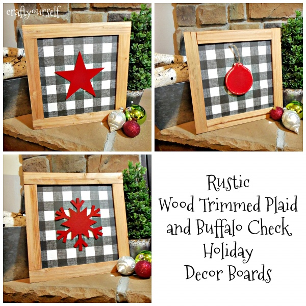 Rustic Wood Trimmed Plaid and Buffalo Check Holiday Decor Boards 3 styles