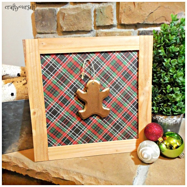 Rustic Wood Trimmed Plaid and Buffalo Check Holiday Decor Boards gingerbread