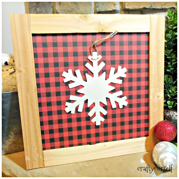 Rustic Wood Trimmed Plaid and Buffalo Check Holiday Decor Boards snowflake white