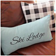Winter Theme Ski Lodge Pillow