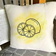 Watercolor yellow paint Decorative Lemon Pillow Cover
