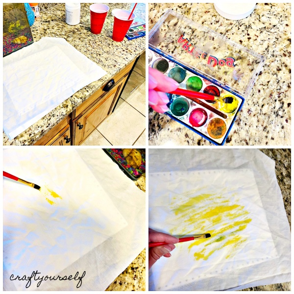 lemon painting watercolor on fabric