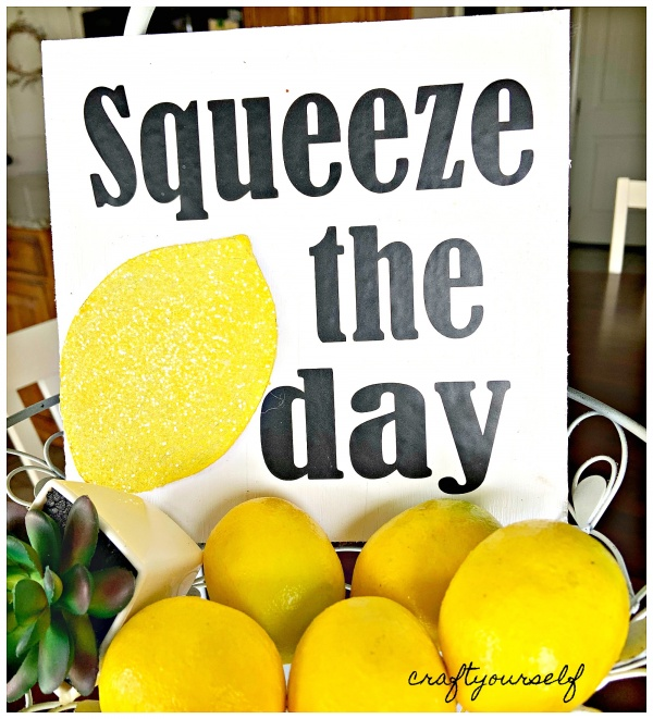 squeeze the day sign close up