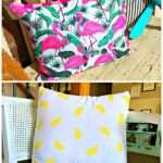 summer flamingo and lemon pillow