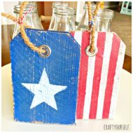 Painted Rustic Wooden Patriotic Star and Stripe Tags