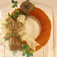 Orange Burlap Wrapped Fall Pumpkin Wreath