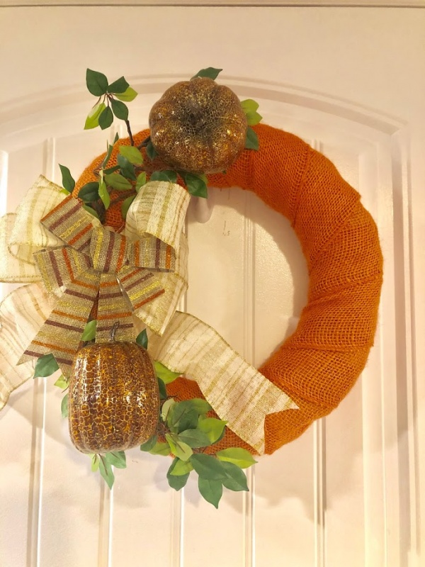 Burlap wrapped fall harvest wreath