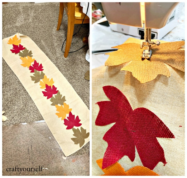 fall leaf table runner pin and sew