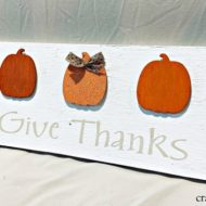 Simple Give Thanks sign with Mini Pumpkins